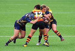 Alicia McComish of Richmond Women tackles Vicky Foxwell Worcester Valkyries- Mandatory by-line: Nizaam Jones/JMP - 22/09/2018 - RUGBY - Sixways Stadium - Worcester, England - Worcester Valkyries v Richmond Women - Tyrrells Premier 15s