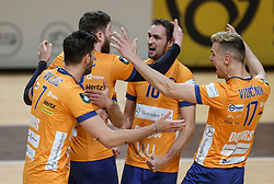 Uros Pavlovic of ACH, Bozidar Vucicevic of ACH, Jan Pokersnik of ACH and Matic Videcnik of ACH celebrate during 3rd Leg Volleyball match between ACH Volley and Calcit Volley in Semifinal of 1. DOL League 2020/21, on March 22, 2021 in Hala Tivoli, Ljubljana, Slovenia.  Photo by Vid Ponikvar / Sportida