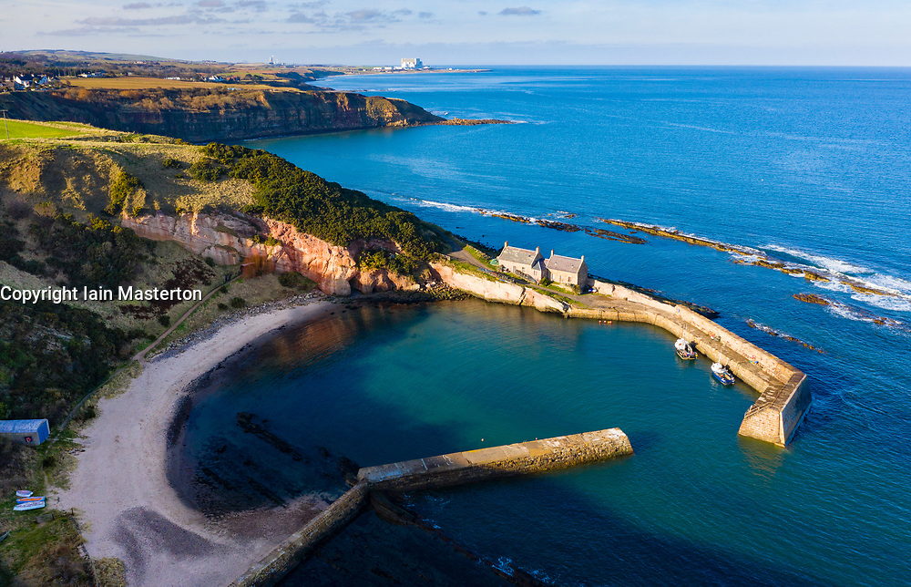 Aerial view of Cove harbour in East Lothian, Scotland, UK