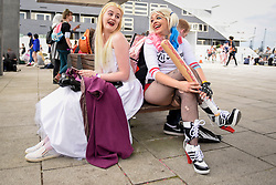 © Licensed to London News Pictures. 28/05/2017. London, UK.  Costumed characters at MCM Comic Con taking place at Excel in East London.  The three day event celebrates popular comic books, anime, games, television and movies.  Many attendees take the opportunity to dress as their favourite characters.    Photo credit : Stephen Chung/LNP