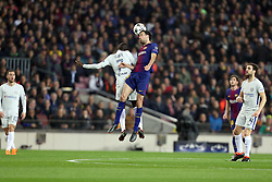 March 14, 2018 - Barcelona, Spain - SERGIO BUSQUETS of FC Barcelona wins a header under pressure from NGOLO KANTE of Chelsea FC during the UEFA Champions League, round of 16, 2nd leg football match between FC Barcelona and Chelsea FC on March 14, 2018 at Camp Nou stadium in Barcelona, Spain (Credit Image: © Manuel Blondeau via ZUMA Wire)