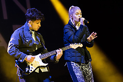 © Licensed to London News Pictures. 06/09/2014. Isle of Wight, UK. London Grammar performing live at Bestival 2014 Day 3 Saturday.  In this picture Hannah Reid.  London Grammar are a British electronic pop trio formed by Hannah Reid (vocals), Dan Rothman (guitar) and Dominic 'Dot' Major (keyboard/drums).  This weekend's headliners include Chic featuring Nile Rodgers, Foals and Outcast.   Bestival is a four-day music festival held at the Robin Hill country park on the Isle of Wight, England. It has been held annually in late summer since 2004.    Photo credit : Richard Isaac/LNP