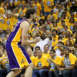 April 22, 2011; New Orleans, LA, USA; Los Angeles Lakers power forward Pau Gasol (16) against the New Orleans Hornets during the second half in game three of the first round of the 2011 NBA playoffs at the New Orleans Arena. The Lakers defeated the Hornets 100-86.   Mandatory Credit: Derick E. Hingle