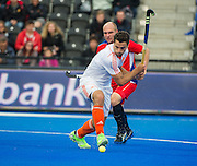 The Netherlands Valetin Verga lines up to shoot. Russia v The Netherlands - Unibet EuroHockey Championships, Lee Valley Hockey & Tennis Centre, London, UK on 25 August 2015. Photo: Simon Parker