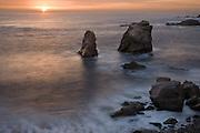 Sea stacks and surf at sunset, Garrapata Beach, Big Sur, California