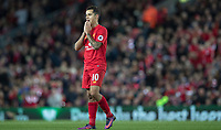 Football - 2016 / 2017 Premier League - Liverpool vs. Manchester United<br /> <br /> Liverpool's Phillippe Coutinho reacts after missing a chance at Anfield.<br /> <br /> COLORSPORT