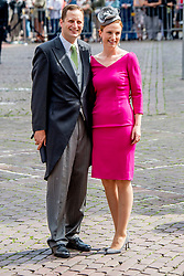 Prince Georg Friedrich von Preussen and Princess Sophie von Isenburg at the wedding ceremony of heir of the throne of German House of Hanover, Prince Ernst August Jr. of Hanover, Duke of Braunscshweig and Lueneburg, and Russian designer Ekaterina Masysheva at the Marktkirche church in Hanover, Germany, 08 July 2017. The son of Prince Ernst August of Hanover Sen., who is married to Princess Caroline of Monaco, is related to several royal houses in Europe. The House of Hanover is a German royal dynasty that also ruled the United Kingdom between. Ernst-August Sr.'s own father (Ernst-August IV) opposed his son's marriage to first wife Chantal, a Swiss commoner. Photo by Robin Utrecht/ABACAPRESS.COM