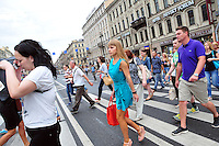 A study in faces and fashion on the crosswalk in St. Petersburg, Russia.