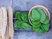 Loofahs and nopal cactus for sale at the morning market in the Zapotec village of Teotitlan del Valle, Oaxaca, Mexico on 26 November 2018