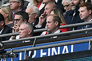 The FA president HRH Duke of Cambridge watching from the Royal box during the The FA Cup Final match between Manchester City and Watford at Wembley Stadium, London, England on 18 May 2019.