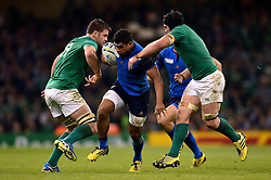 Wesley Fofana of France takes on the Ireland defence - Mandatory byline: Patrick Khachfe/JMP - 07966 386802 - 11/10/2015 - RUGBY UNION - Millennium Stadium - Cardiff, Wales - France v Ireland - Rugby World Cup 2015 Pool D.