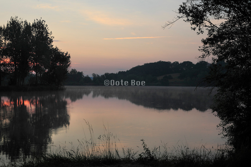 lake during early morning hours France Languedoc Aude Razes