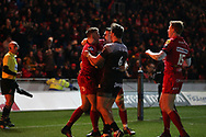 Tom Prydie of the Scarlets (l) celebrates with teammates after he scores his teams 1st try.  EPCR European Champions cup match, Scarlets v RC Toulon at the Parc y Scarlets in Llanelli, West Wales on Saturday 20th January 2018. <br /> pic by  Andrew Orchard, Andrew Orchard sports photography.