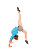 flexible Female acrobat bends over backwards On white Background