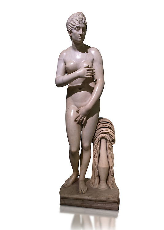 Statue of Aphrodite, a 2nd century Roman Copy. This sculpture depicts Aphrodite in the typical pose known as the Modest Aphrodite style or Capitoline type and is a copy of a lost 4th century BC Aphrodite of Cnidos sculpture by Athenian sculpture Praxiteles. Naples National Archaeological Museum, Italy ..<br /> <br /> If you prefer to buy from our ALAMY STOCK LIBRARY page at https://www.alamy.com/portfolio/paul-williams-funkystock/greco-roman-sculptures.html . Type -    Naples    - into LOWER SEARCH WITHIN GALLERY box - Refine search by adding a subject, place, background colour, etc.<br /> <br /> Visit our ROMAN WORLD PHOTO COLLECTIONS for more photos to download or buy as wall art prints https://funkystock.photoshelter.com/gallery-collection/The-Romans-Art-Artefacts-Antiquities-Historic-Sites-Pictures-Images/C0000r2uLJJo9_s0