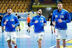 Blaz Janc and Blaz Blagotinsek of Slovenia during Men's EHF EURO 2022 Qualifiers between national teams Slovenia and Netherlands in Arena Zlatorog, Celje, Slovenia on 10. January, 2021. Photo by Grega Valancic