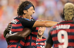 July 19, 2017 - Philadelphia, PA, USA - Philadelphia, PA - Wednesday July 19, 2017: Omar Gonzalez celebrates his goal during a 2017 Gold Cup match between the men's national teams of the United States (USA) and El Salvador (SLV) at Lincoln Financial Field. (Credit Image: © John Dorton/ISIPhotos via ZUMA Wire)