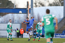 Tom Eastman of Colchester United and Brandon Comley of Colchester United challenge for the same ball   - Mandatory by-line: Arron Gent/JMP - 08/02/2020 - FOOTBALL - JobServe Community Stadium - Colchester, England - Colchester United v Plymouth Argyle - Sky Bet League Two
