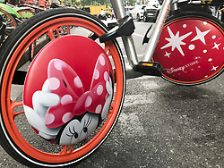 August 28, 2017 - Shanghai, Shanghai, China - Shanghai, CHINA-28th August 2017: (EDITORIAL USE ONLY. CHINA OUT)..The Mickey Mouse themed shared bikes can be seen on street in Shanghai, August 28th, 2017.The bike-sharing company Mobike and Disney co-release the Mickey and Minnie Mouse shared bikes in Shanghai, marking the Chinese Valentine's Day. (Credit Image: © SIPA Asia via ZUMA Wire)