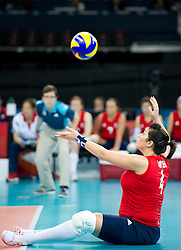 © Licensed to London News Pictures. 31/08/2012, The Paralympics women's sitting volleyball competition got under way this morning at the Excel Centre in London.   The team were beaten by the Ukrainian team who are currently ranked third in the world. Members of the team include Vice-captain Martine Wright who survived the 7/7 terrorist attacks in London and Sam Bowen an Iraqi war veteran (pictured).  Photo credit : Alison Baskerville/LNP