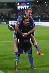 Robert Beric of NK Maribor and Tavares of NK Maribor celebrate victory after football match between NK Maribor and Panathinaikos Athens F.C. (GRE) in 1st Round of Group Stage of UEFA Europa league 2013, on September 20, 2012 in Stadium Ljudski vrt, Maribor, Slovenia. (Photo By Matic Klansek Velej / Sportida)