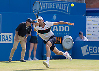 Tennis - 2017 Aegon Championships [Queen's Club Championship] - Day Three, Wednesday<br /> <br /> Men's Singles, Round of 16 - Grigor Dimitrov (BUL) vs Julien Benneteau (FRA)<br /> <br /> Julien Benneteau (FRA) stretches to his right to reach a passing shot at Queens Club<br /> <br /> COLORSPORT/DANIEL BEARHAM