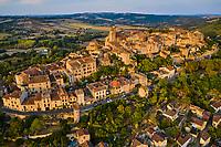 France, Tarn (81), Cordes-sur-Ciel, village médiéval bâti sur le puech de Mordagne (vue aérienne) // France, Tarn (81), Cordes-sur-Ciel, medieval village built on the puech de Mordagne (aerial view)
