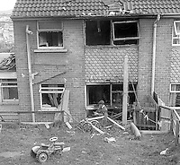 Rear view of a house at Barcroft Park, Newry, Co Down, N Ireland, UK, where 29 year old Patrick McKeown died when a bomb exploded prematurely on 27th August 1974. At least two other men were believed to have been injured in the blast. McKeown, a 29 year old Roman Catholic, married with 4 children, was from nearby Violet Hill Avenue. The Provisional IRA said Mr McKeown was killed in action. He had a para-military funeral and shots were fired over his coffin. 197408270463<br /> <br /> Copyright Image from Victor Patterson, 54 Dorchester Park, <br /> Belfast, UK, BT9 6RJ<br /> <br /> t1: +44 28 9066 1296 (from Rep of Ireland 048 9066 1296)<br /> t2: +44 28 9002 2446 (from Rep of Ireland 048 9002 2446)<br /> m: +44 7802 353836<br /> <br /> e1: victorpatterson@me.com<br /> e2: victorpatterson@gmail.com<br /> www.victorpatterson.com<br /> <br /> Please see my Terms and Conditions of Use at www.victorpatterson.com. It is IMPORTANT that you familiarise yourself with them.<br /> <br /> Images used on the Internet must be visibly watermarked i.e. © Victor Patterson<br /> within the body of the image and copyright metadata must not be deleted. Images <br /> used on the Internet have a size restriction of 4kbs and will be chargeable at current<br />  NUJ rates unless agreed otherwise.<br /> <br /> This image is only available for the use of the download recipient i.e. television station, newspaper, magazine, book publisher, etc, and must not be passed on to any third <br /> party. It is also downloaded on condition that each and every usage is notified within 7 days to victorpatterson@me.com<br /> <br /> The right of Victor Patterson to be identified as the author is asserted in accordance with The Copyright Designs And Patents Act (1988). All moral rights are asserted.