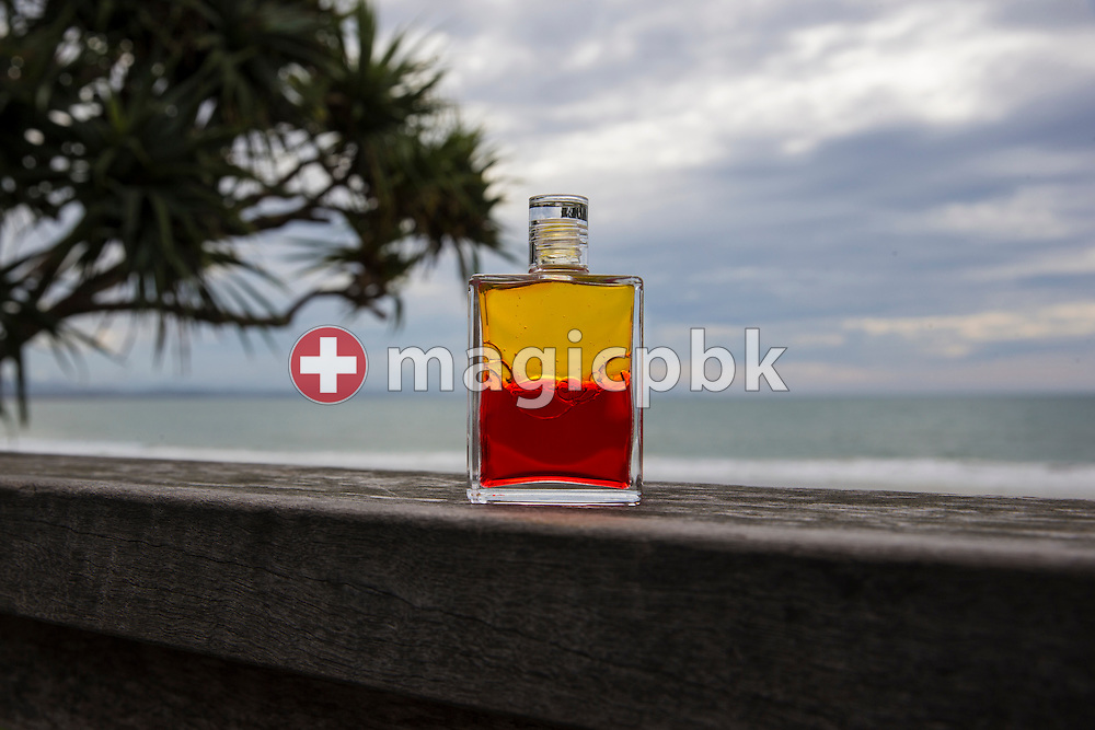 An Aura-Soma Equilibrium no. 5 (B5, Yellow / Red, Sunrise / Sunset Bottle) is pictured at the Surf Club in Byron Bay, Australia, Saturday, June 18, 2016. (Photo by Patrick B. Kraemer / MAGICPBK)