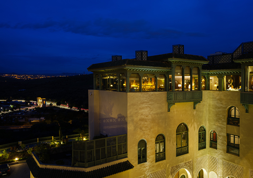 FEZ, MOROCCO - CIRCA MAY 2018:  View of the Palais Faraj Hotel in Fez