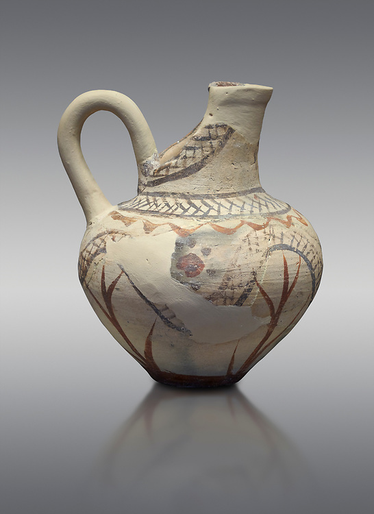 Cycladic cut away jug with floral and net pattern.   Cycladic (1650-1450 BC) , Phylakopi III, Melos. National Archaeological Museum Athens. Cat no 5757.   Grey background.<br /> <br /> <br /> This jug has a strainer in the spout with floral patterns. Ceramic shapes and painted style are heavily influenced by Minoan styles during this period. Dark floral and spiral patterns are painted over a lighted backgound with wavy bands. .<br /> <br /> If you prefer to buy from our ALAMY PHOTO LIBRARY  Collection visit : https://www.alamy.com/portfolio/paul-williams-funkystock/cycladic-art-artefacts.html Type into the LOWER SEARCH WITHIN GALLERY box to refine search by adding background colour, place, museum etc<br /> <br /> Visit our CYCLADIC CIVILISATIONS PHOTO COLLECTIONS for more photos to download or buy as wall art prints https://funkystock.photoshelter.com/gallery-collection/Cycladic-civilisation-Ancient-Greek-Artefacts-art-Photos-Pictures-Images/C0000CmevVvnC.XU