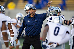 Nevada head coach Jay Norvell fires up his team before during an NCAA college football game against California, Saturday, Sept. 4, 2021, in Berkeley, Calif. (AP Photo/D. Ross Cameron)