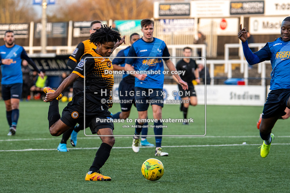 BROMLEY, UK - JANUARY 04: Bradley Pritchard, of Cray Wanderers FC, looks to unleash a shot during the BetVictor Isthmian Premier League match between Cray Wanderers and Wingate & Finchley at Hayes Lane on January 4, 2020 in Bromley, UK. <br /> (Photo: Jon Hilliger)