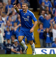 Photo: Daniel Hambury.<br />Chelsea v Manchester City. The Barclays Premiership. 20/08/2006.<br />Chelsea's Andriy Shevchenko celebrates his 'goal' which was disallowed.