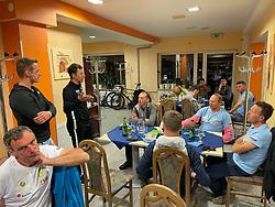 Riders' meeting at Gostisce Krivograd in Prevalje during 3rd Stage from Soca to Prevalje, 230km at Day 3 of DOS 2021 Charity event - Dobrodelno okrog Slovenije, on April 29, 2021, in Slovenia. Photo by Vid Ponikvar / Sportida