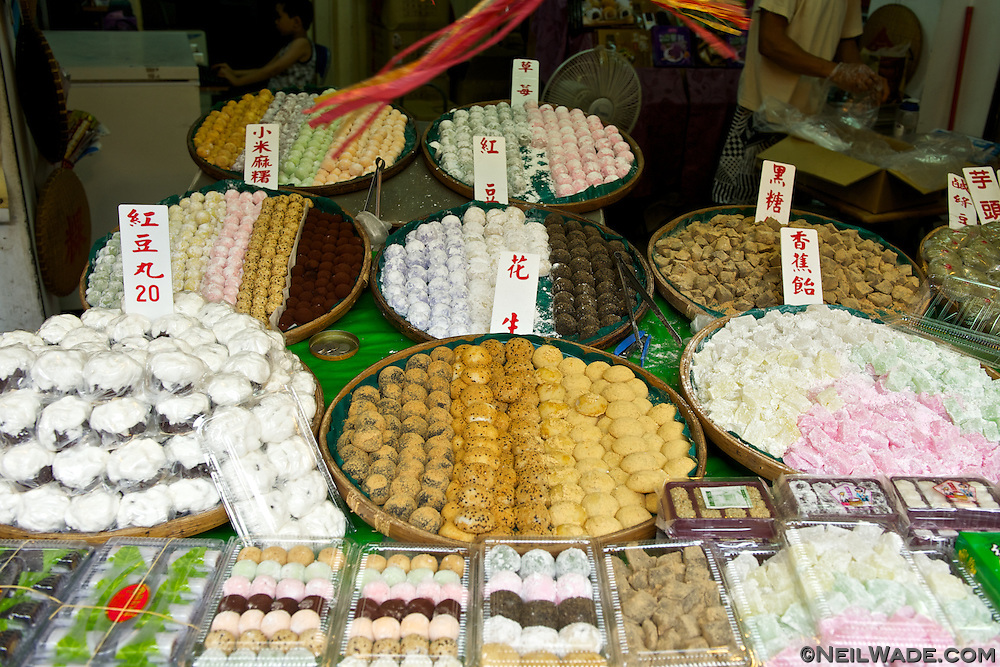 Besides stinky tofu, Shenkeng Old Street has many traditional Taiwanese foods for sale.  This vendor has many kinds of confectionary deserts.