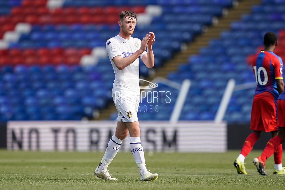 Ryan Edmondson of Leeds United U23 applauds the fans as he leaves the pitch during the U23 Professional Development League match between U23 Crystal Palace and Leeds United at Selhurst Park, London, England on 15 April 2019.
