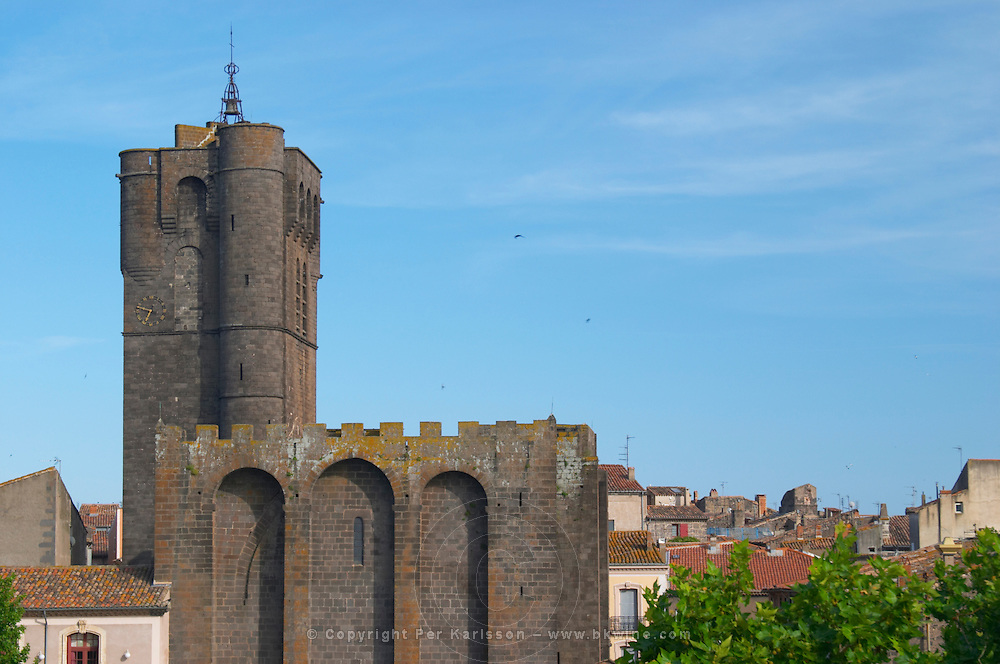 The black basalt lava stone cathedral. Agde town. Languedoc. France. Europe. St Etienne cathedral from the 12 century.