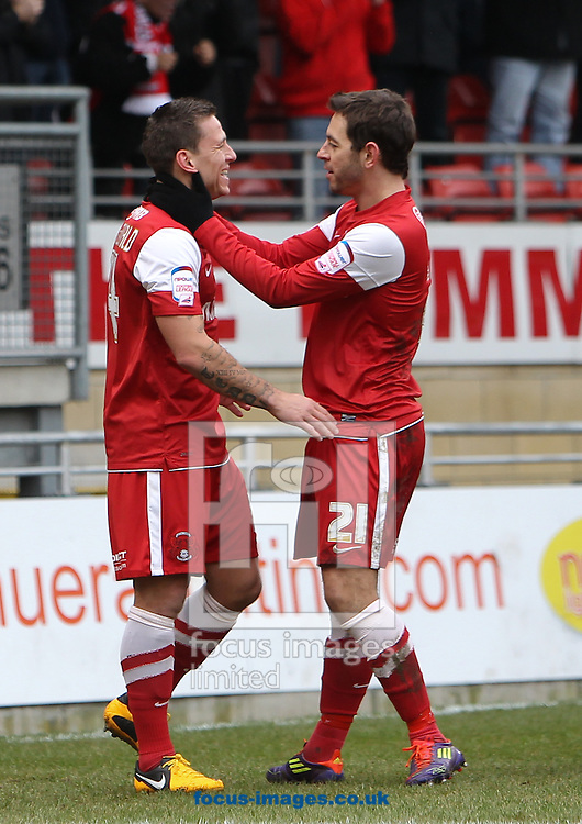 Picture by John  Rainford/Focus Images Ltd +44 7506 538356.09/02/2013.Charlie MacDonald of Leyton Orient celebrates scoring the opener Tranmere Rovers with team-mate Lee Cook during the npower League 1 match at the Matchroom Stadium, London.