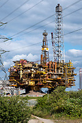 The Brent Bravo Delta oil platform topsides in Able Seaton Port, Hartlepool, North East England, UK.   This was the heaviest single cargo ever to be lifted in the history of the oil and gas industry was brought to Seaton to be scrapped. The aim is to recycle 98% of the structure.
