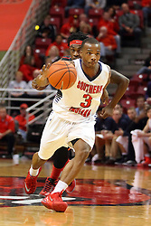 08 November 2015: Paris Lee(1) sneaks up behind Bobo Drummond(3) to try and dislodge the ball. Illinois State Redbirds host the Southern Indiana Screaming Eagles and beat them 88-81 in an exhibition game at Redbird Arena in Normal Illinois (Photo by Alan Look)