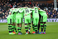 Wolverhampton Wanderers team huddle during the Sky Bet Championship match at Craven Cottage, London<br /> Picture by Richard Brooks/Focus Images Ltd 07947656233<br /> 18/03/2017