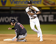 CHICAGO - SEPTEMBER 25:  Tim Anderson #7 of the Chicago White Sox turns a double play against the Cleveland Indians on September 25, 2019 at Guaranteed Rate Field in Chicago, Illinois.  (Photo by Ron Vesely)  Subject:   Tim Anderson