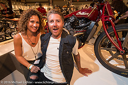 Roland Sands with his sister Summer Hoover on the Industry party night for Michael Lichter's tattoo themed Skin & Bones Motorcycles as Art exhibition at the Buffalo Chip during the annual Sturgis Black Hills Motorcycle Rally.  SD, USA.  August 7, 2016.  Photography ©2016 Michael Lichter.