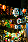 Hanging lanterns and lights at night in Chinatown, Singapore, Republic of Singapore