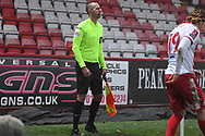 Assistant Referee Nigel Lugg during the FA Cup match between Stevenage and Swansea City at the Lamex Stadium, Stevenage, England on 9 January 2021.