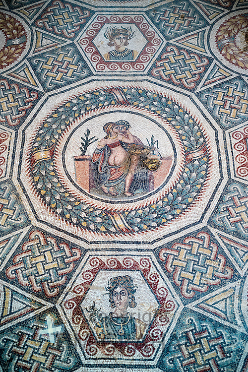 Erotic mosaic scene in ceiling of Villa Romana del Casale, Piazza Armerina, Sicily