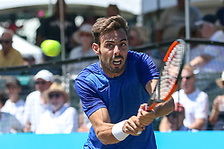 July 20, 2018 - Newport, RI, U.S. - NEWPORT, RI - JULY 20: Marcel Granollers (SPA) returns to Adrian Mannarino (FRA) during their quarterfinal match up of the Dell Technologies Hall of Fame Open at the International Tennis Hall of Fame in Newport, Rhode Island on July 20, 2018. Granollers won the match 6-3, 6-1 and advanced to the semifinals. (Photo by Andrew Snook/Icon Sportswire) (Credit Image: © Andrew Snook/Icon SMI via ZUMA Press)