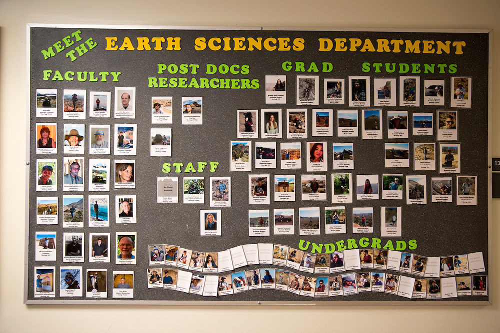 """The University of California, Riverside has instituted """"cluster hiring"""" to expand the faculty. A board in the Geology Department"""