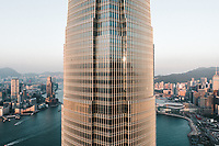 Aerial View of the IFC Tower in Hong Kong separating the Island and the New Territories, China